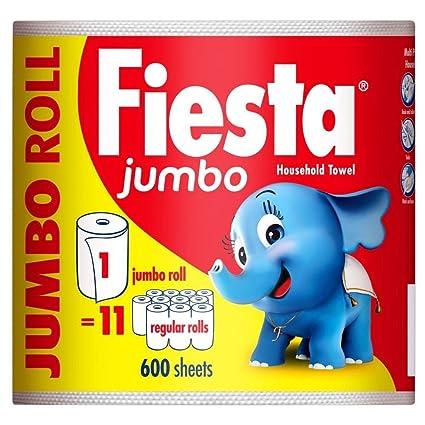 Fiesta Toallas Para Uso Doméstico Jumbo - 600 Hojas Por Rollo (Paquete de 2)