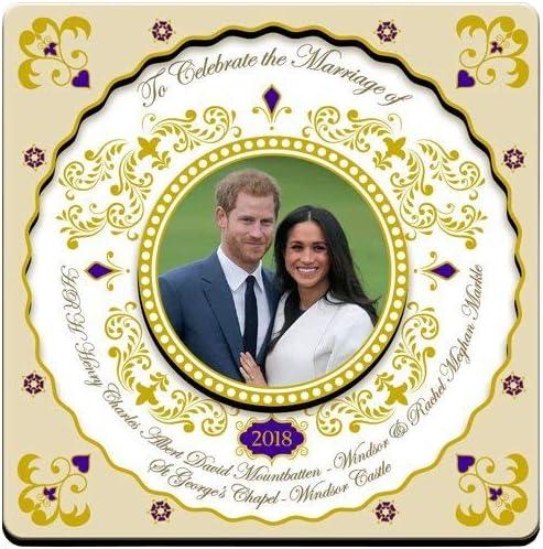 2 PRINCE HARRY /& MEGHAN MARKLE GOLD FOIL MAGNETS Official Royal Wedding Souvenir