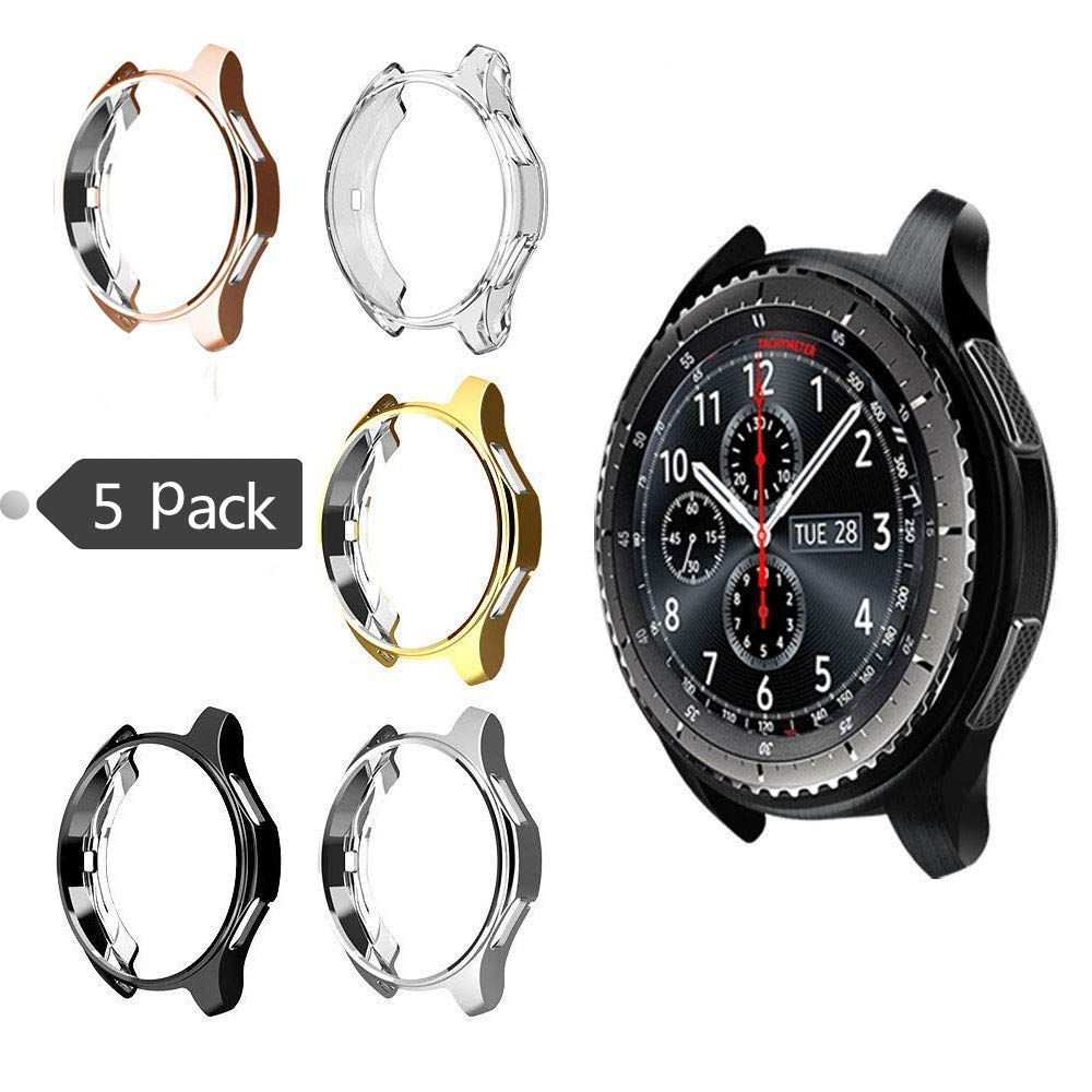 Case for Galaxy Watch 42mm, Minisoo Soft TPU Plated [Scratch-Resist] Frame Shock-Proof All-Around Protective Bumper Shell for Samsung Galaxy Watch 42mm Smartwatch (5 Colors (5 Pack))
