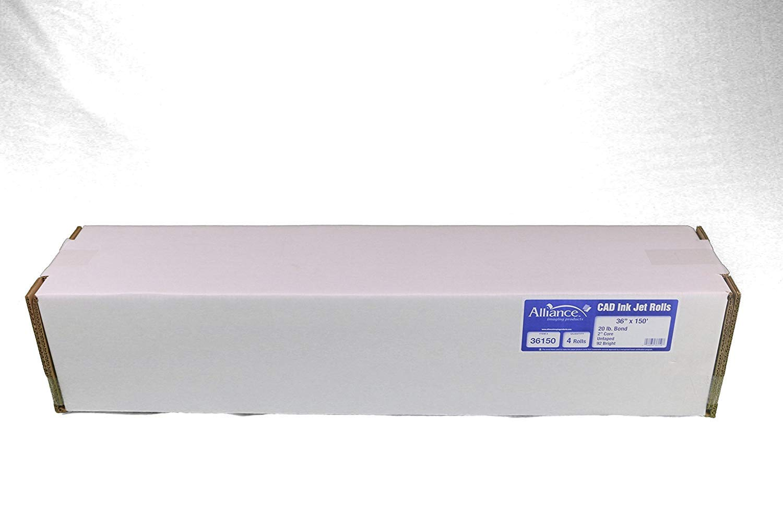 "Alliance CAD Bond Rolls, 36'' x 150', 92-96 Bright (4 Rolls, 2""core, 20lb)"