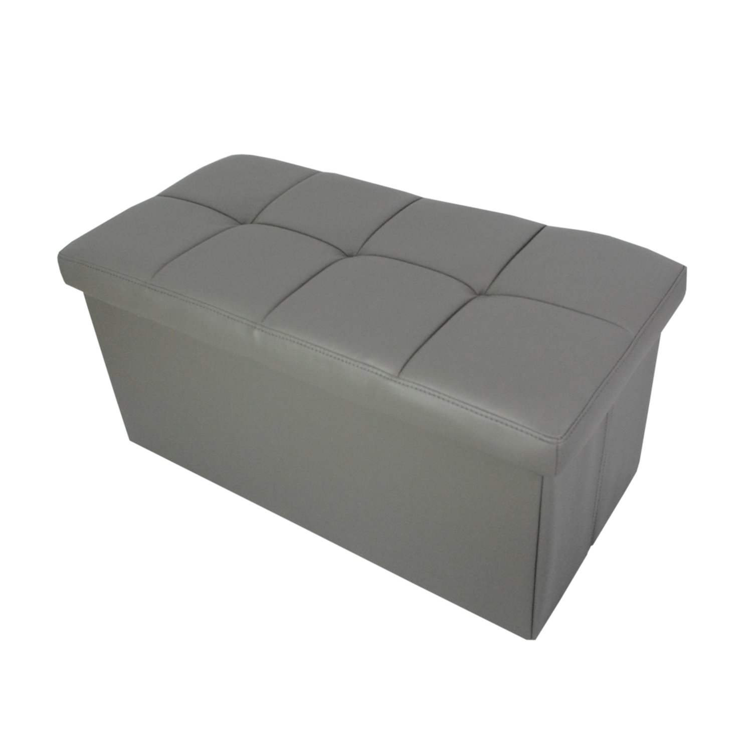 Enjoyable Redde Boo Storage Ottoman Bench Seat Folding Foot Rest Stool In Faux Leather Waterproof 30X15X15 Inches Grey Creativecarmelina Interior Chair Design Creativecarmelinacom