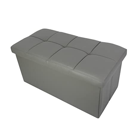 Excellent Redde Boo Storage Ottoman Bench Seat Folding Foot Rest Stool In Faux Leather Waterproof 30X15X15 Inches Grey Creativecarmelina Interior Chair Design Creativecarmelinacom
