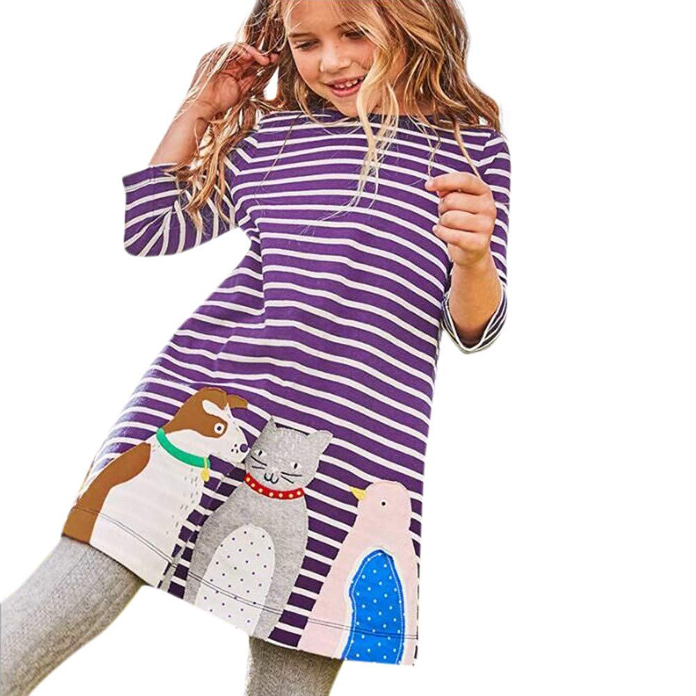 Girls Dresses Animal Cartoon Print Home School Shirt Clothes Long Sleeve Dress (Purple -2, 2-3T)