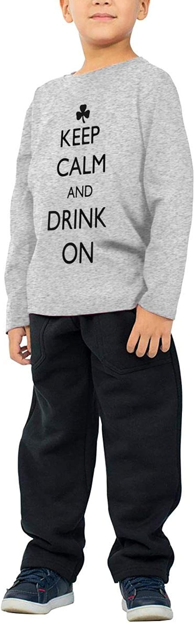 Baby Boys Kids Keep Calm and Drink On St Patricks Day ComfortSoft Long Sleeve Shirt