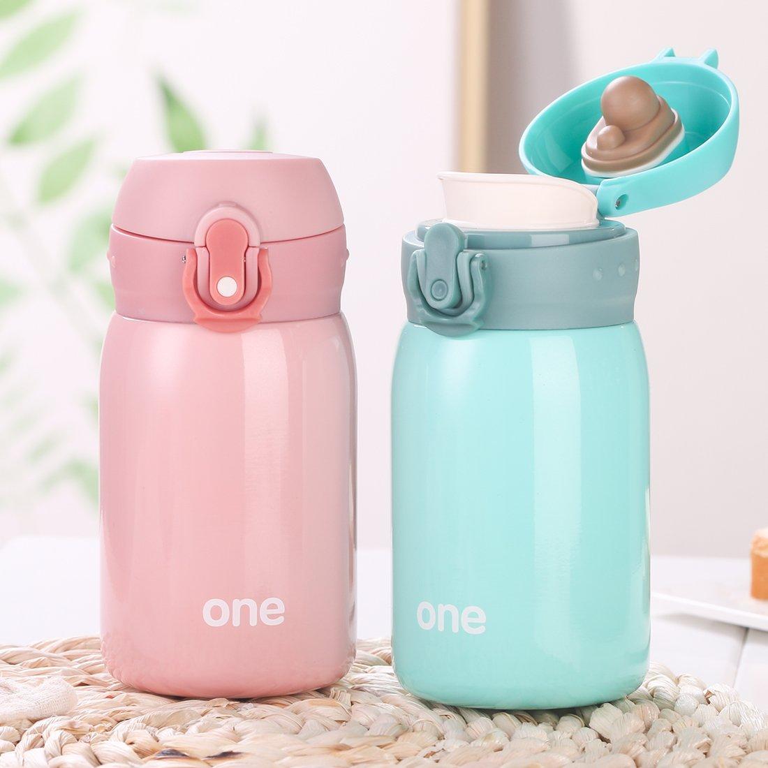 Kid&Girls 260ml/9oz Mini Insulated Water Bottle Drink Thermos Cute Stainless Steel Vacuum Flask,Leak-proof Travel Mug Coffee Tumbler (Green) by HOLD U FUN (Image #7)