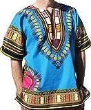 Raan Pah Muang RaanPahMuang Brand Unisex Bright Colour Cotton Africa Dashiki Shirt Plain Front, X-Large, Bright Blue