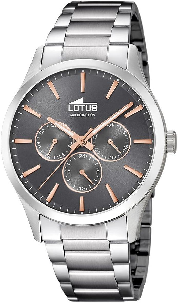 Lotus Watches Reloj Multiesfera para Hombre de Cuarzo con Correa en Acero Inoxidable 18575/2