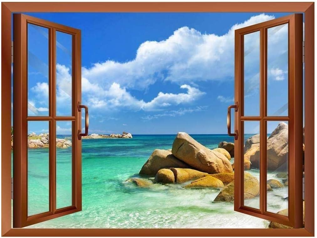 Tropical Landscape Seychelles Paradise Removable Wall Sticker Wall Mural