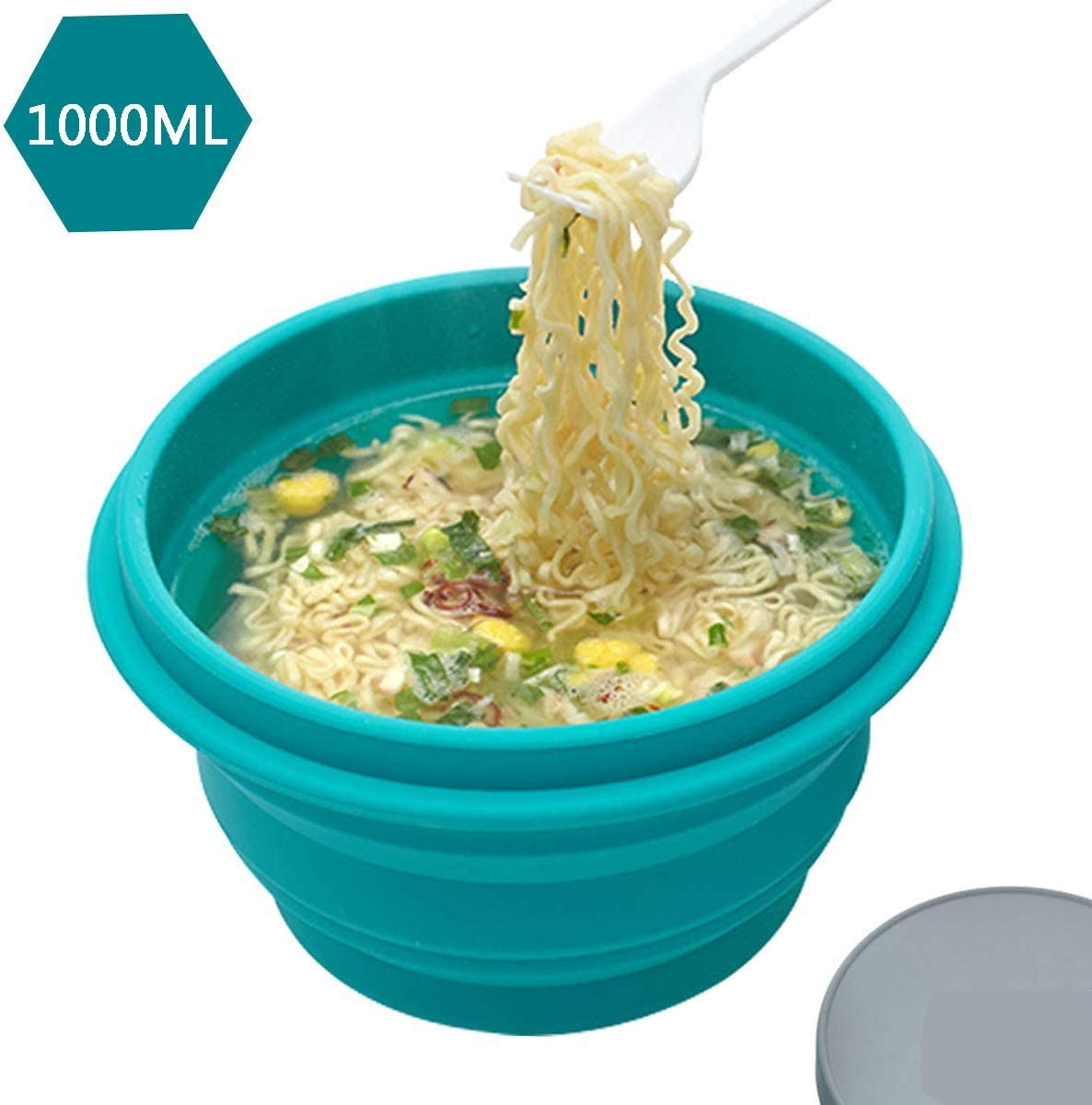 Silicone Collapsible Bowl with Lid 1000ML for Travel Camping Hiking, Folding Travel Bowl Portable for Outdoor and Indoor