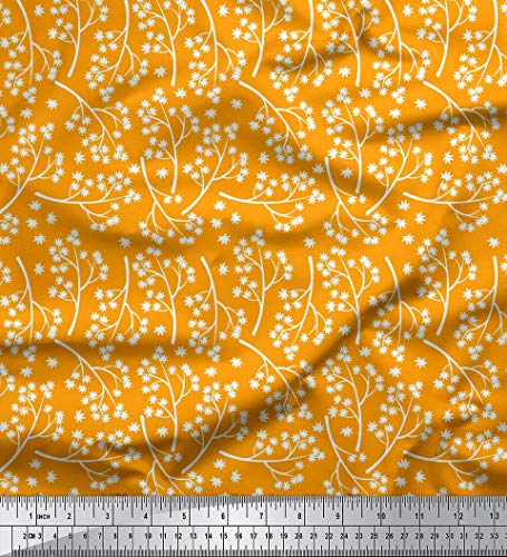 Soimoi Orange Rayon Fabric Japanese Maple Leaves Print Fabric by The Yard 56 Inch Wide ()