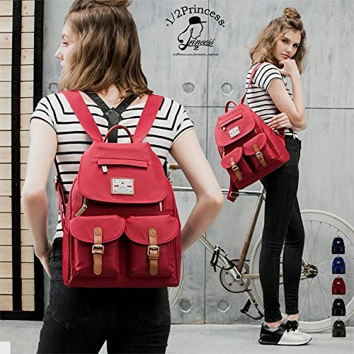 1 2 Princess Slim Water-Resistance Nylon iPad Backpack for Women Red