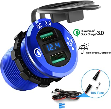 Barche e Molto Altro Ancora Auto Camper Presa USB Impermeabile con Voltmetro LED Display Digitale per Moto Camion YGL Presa USB per Auto e Moto 12V//24V,2 Porte Caricabatterie USB QC3.0 Blu