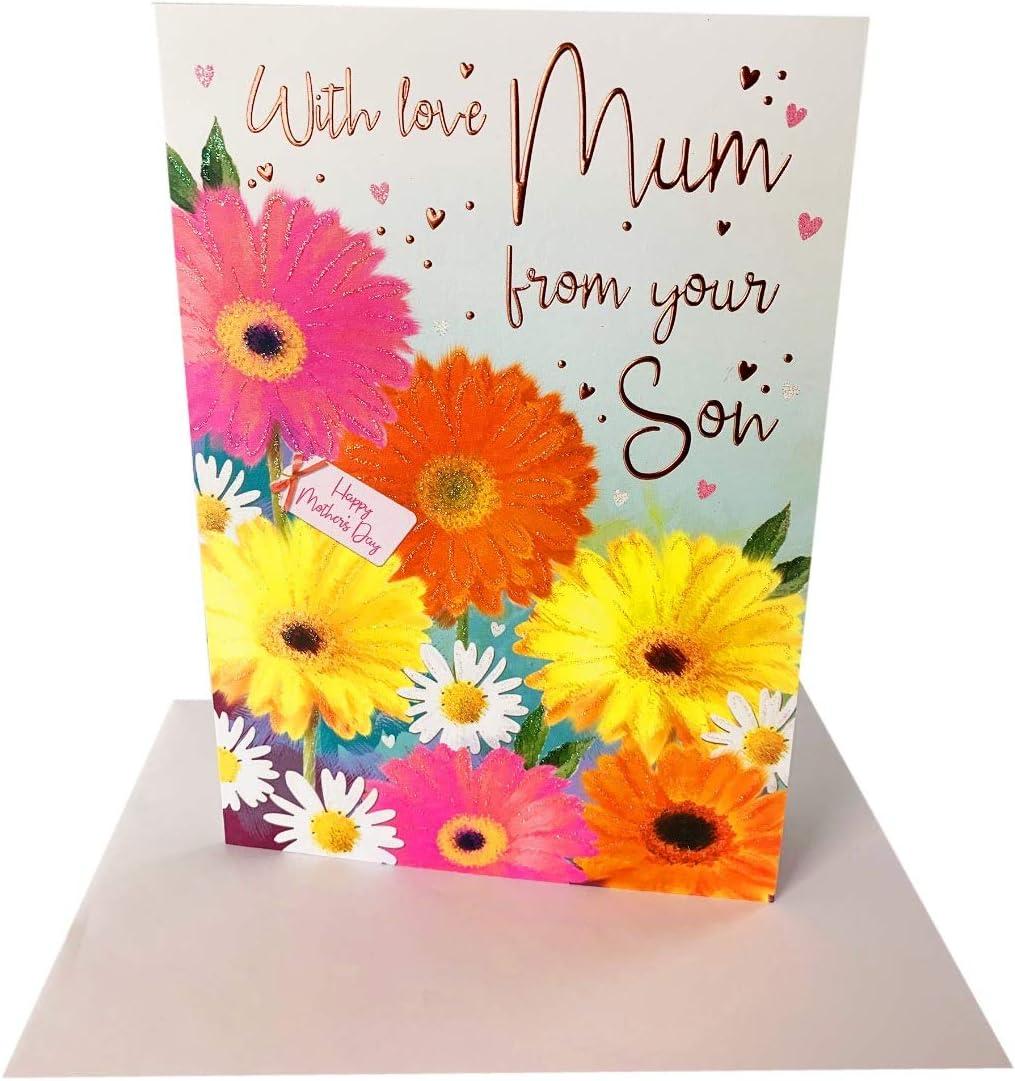 "Mum Birthday Card LARGE 9/""x6/"" Cute Teddy Bear Floral   Mom Mother"
