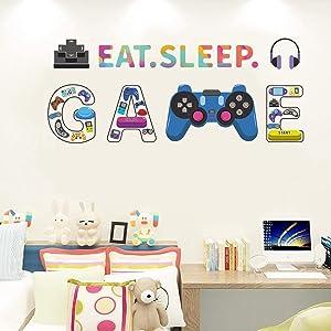 Gamer Wall Decals, Eat Sleep Game Wall Sticker, Removable DIY Wall Stickers Wallpaper Decor, Cartoon Gaming Controller Wallpaper Decor for Teen Boys Kids Bedroom Playroom