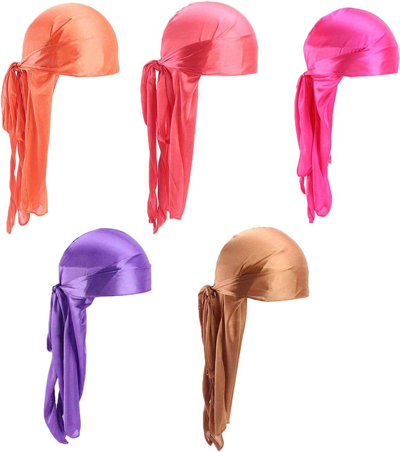 Xinqiao 5 Pcs Unisex Silky Durags Headwrap Headscarf Soft Cap for Hair Waves