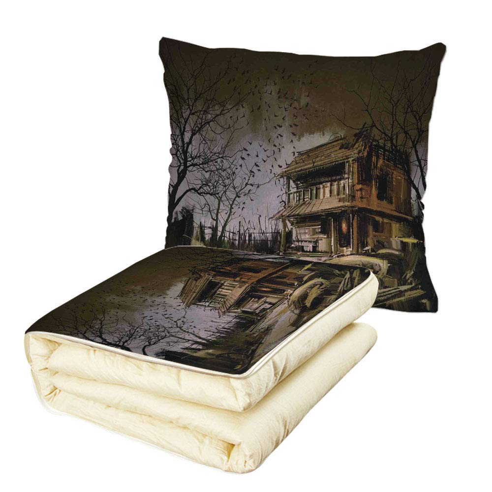 iPrint Quilt Dual-Use Pillow Rustic Home Decor Old Haunted Abandoned Wood House at Dark Night with Bats Scary Horror Paint Multifunctional Air-Conditioning Quilt Multi