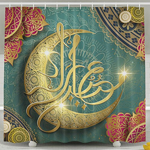 YETTA YANG Ramadan Religion Muslim Holiday Islam Home Decor Four Seasons Shower Curtain, Waterproof Mildew Resistant Non Toxic And Odorless, 100% Fabric Polyester Soft Material, Machine Washable by YETTA YANG
