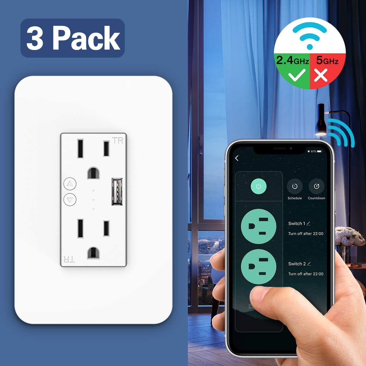 MoKo Smart WiFi In-wall Socket with 2 Outlets 1 USB Charging Port 15A Electrical Smart In Wall Timer Plug Work with Alexa Echo Google Home SmartThings Remote control Timing function,Only 2.4GHz,6 Pack