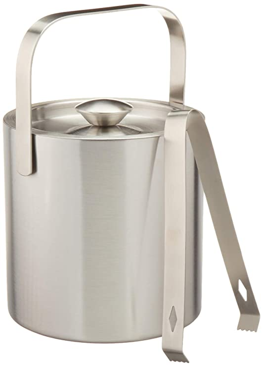 Stainless Steel Ice Bucket by LUCKYGOOBO - Portable Double Wall Ice Bucket with Tong, Barware/Champagne Bucket/Beverage Bucket,Serveware for ...
