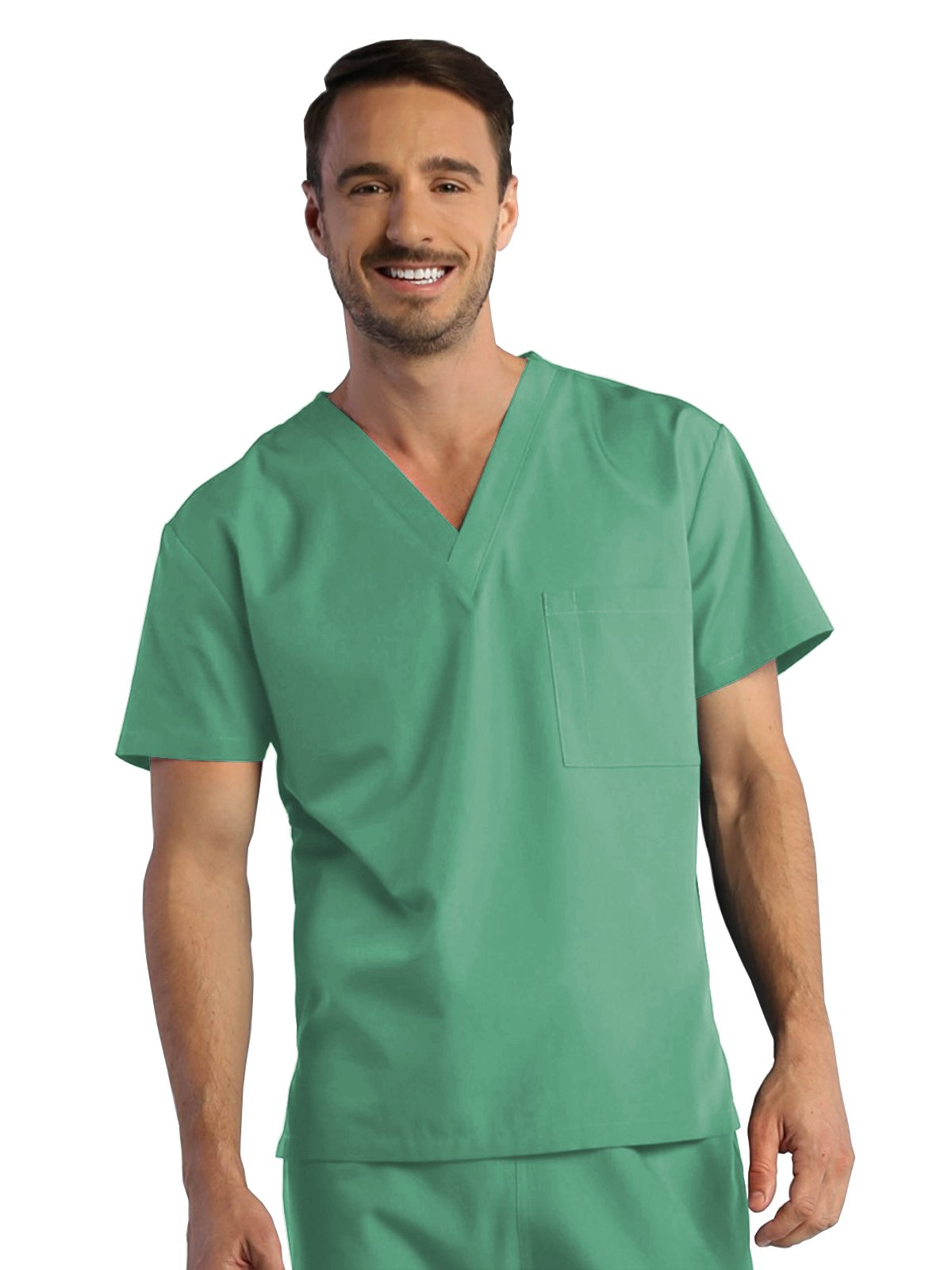 Red Panda Unisex V-Neck Solid Scrub Top Large Sea Green