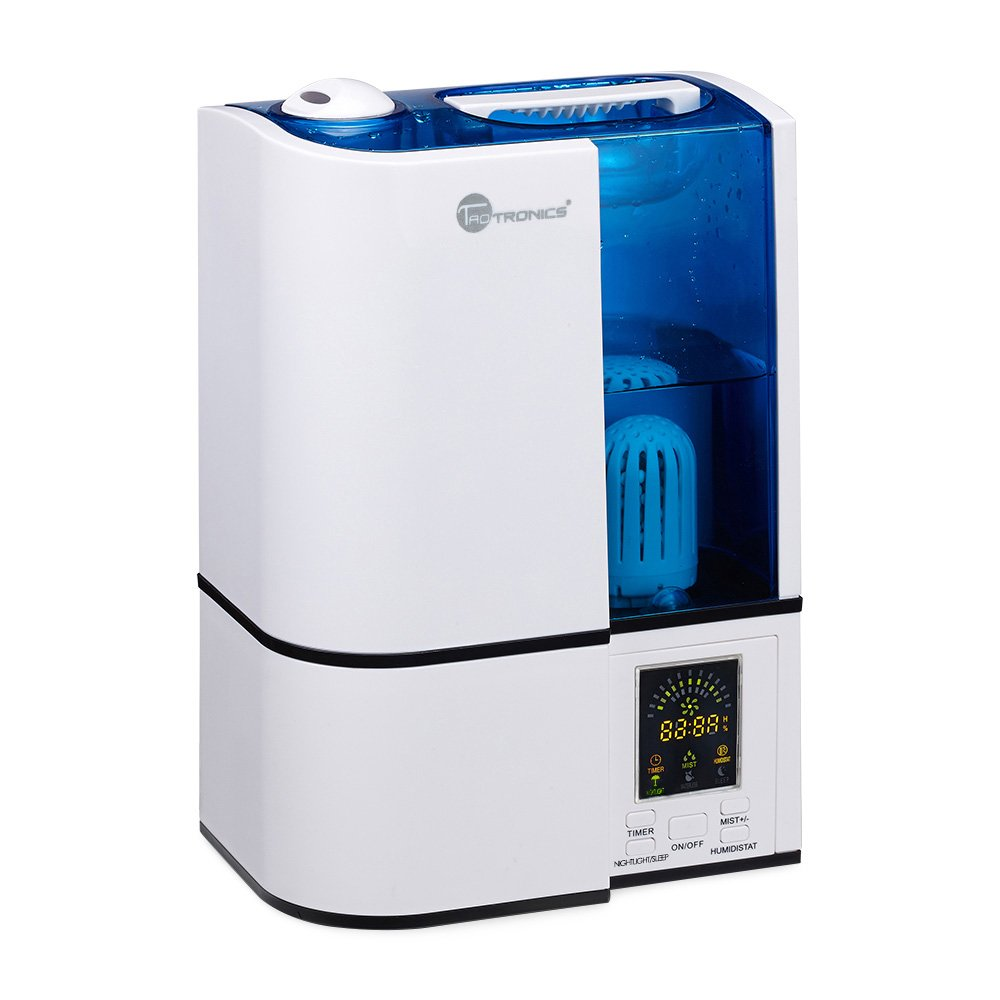 TaoTronics Humidifier with LED Display, Ultrasonic Humidifier Cool Mist with No Noise, Mist Level Control, and Timer Setting