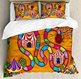 Board Game Duvet Cover Set Queen Size by Ambesonne, Carnival in Town Circus Characters Tents Ferris Wheel Ride Route Curves Forest, Decorative 3 Piece Bedding Set with 2 Pillow Shams, Multicolor