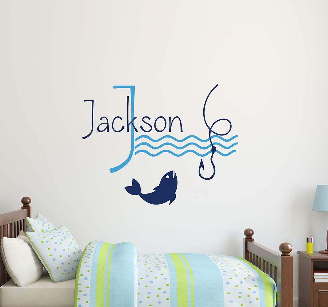 Personalized Wall Decals For Boys Name Fishing Hook Waves Vinyl Sticker Kids Nautical Nursery Bedroom Decor aa373
