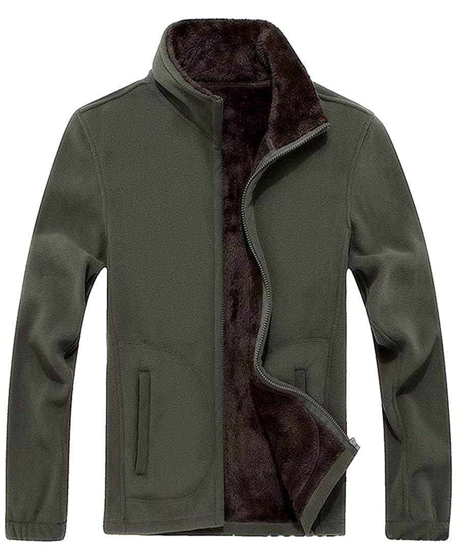 Blyent Men Sport Plus Size Zipper Fleece Flannel Sweatshirt Jacket Coat