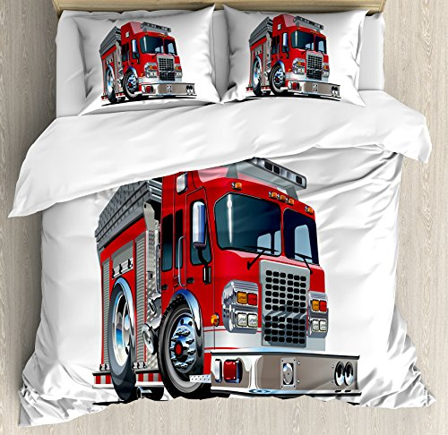 t Cover Set Queen Size, Cartoon Style Red Fire Truck Emergency Services Safety of The City Transportation, Decorative 3 Piece Bedding Set with 2 Pillow Shams, Red Pale Grey ()