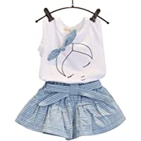 ZEELIY Children's Clothing Kids Girls Cute Bow Girl Pattern Shirt Top Grid Shorts Set Clothing Give Your Child The Best…