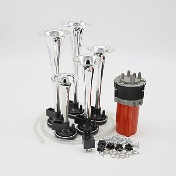 YIDA - Cuerno de aire 12 V 150 db, cromo zinc 5 trompeta musicales para coche, relé