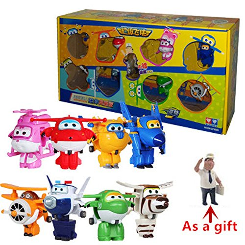 Super Wings Toy Set 8 Mini Transformation Robot Action baby toys for gifts (Transformers Dog Costume)