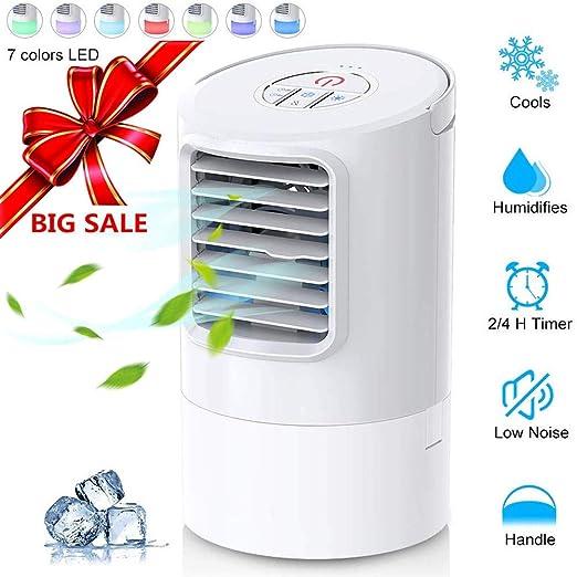 Climatizador Evaporativo Air Cooler Portatil Aire Acondicionado,Mini Ventilador Humidificador Purificador de Aire 7 Colores Luces LED