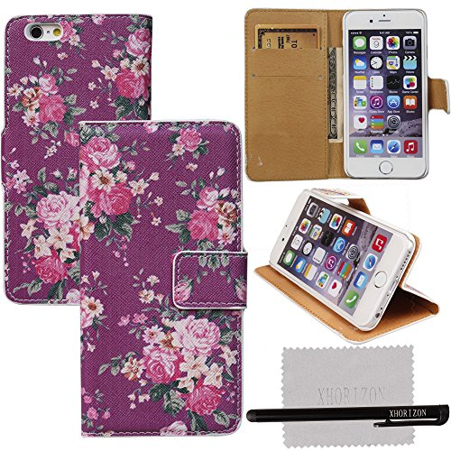 iPhone 6/6s case, xhorizon TM Elegant Retro Floral Protective Book Style Flip Stand PU Leather Case Cover With Credit ID Card Slots Holder/ Money Pockets FX For iPhone - Retro Credit Card Id