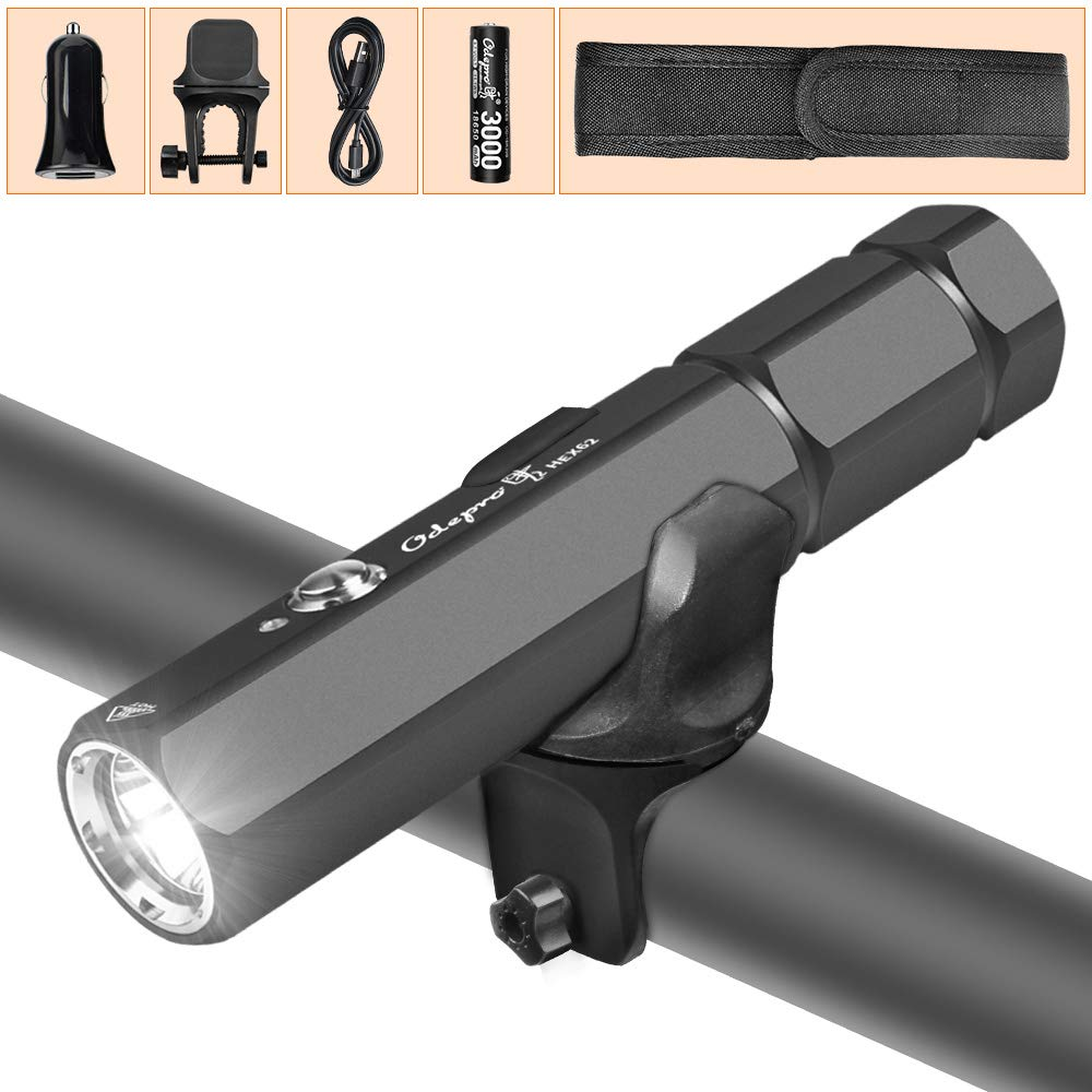 USB Rechargeable Bicycle Light IP68 Waterproof 4 Light Modes,with 3000mAh 18650 Battery and Bicycle Mount Odepro HEX62 1000LM Ultra Bright Hexahedron Bike Headlight Set