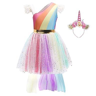 FONLAM Disfraz Vestido de Princesa Fiesta Niña Tutú Vestido de Unicornio Cumpleaños Infantil Carnaval Niña Cosplay