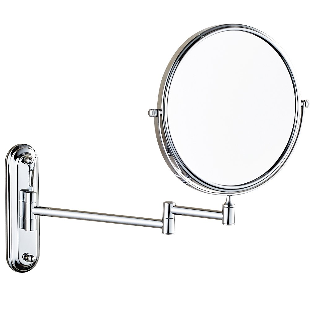 GuRun 8-Inch Two-Sided Swivel Wall Mount Makeup Mirror with 7x Magnification,Chrome Finish M1206(8in,7x)