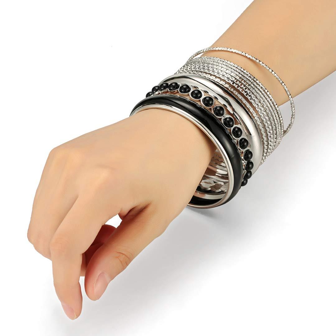 Ensoul Mixed Multi Metal Bangles Bracelets Set Fashion Jewelry for Women 11Pcs//Set
