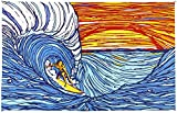 Sunshine Joy Sunset Surfer Ocean Wave Surf Tapestry Wall Hanging Huge 60x90 Inches