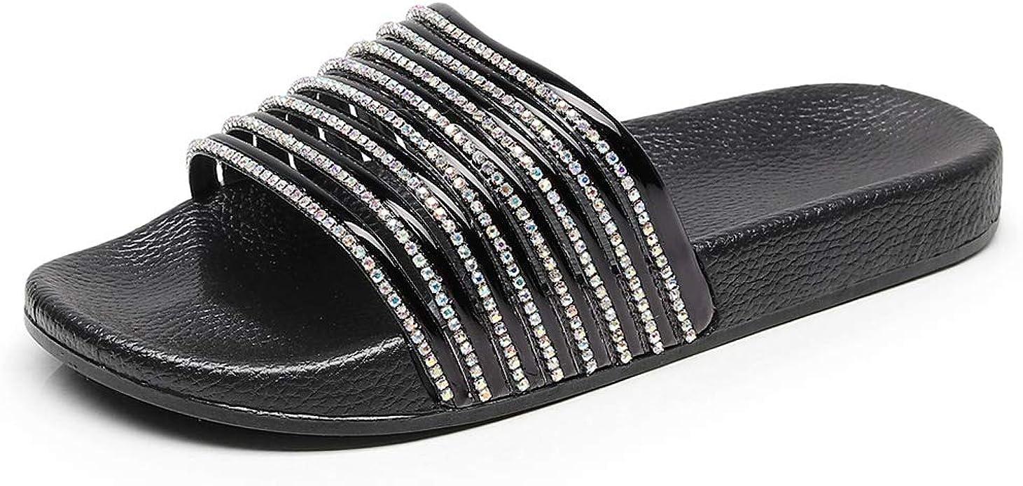Womens Sliders Diamante Slippers Flip Flop Mules Sparkle Rubber Shoe Slip On NEW