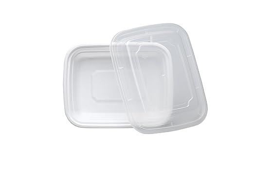 Safepro 12 oz. Color blanco rectangular para microondas ...