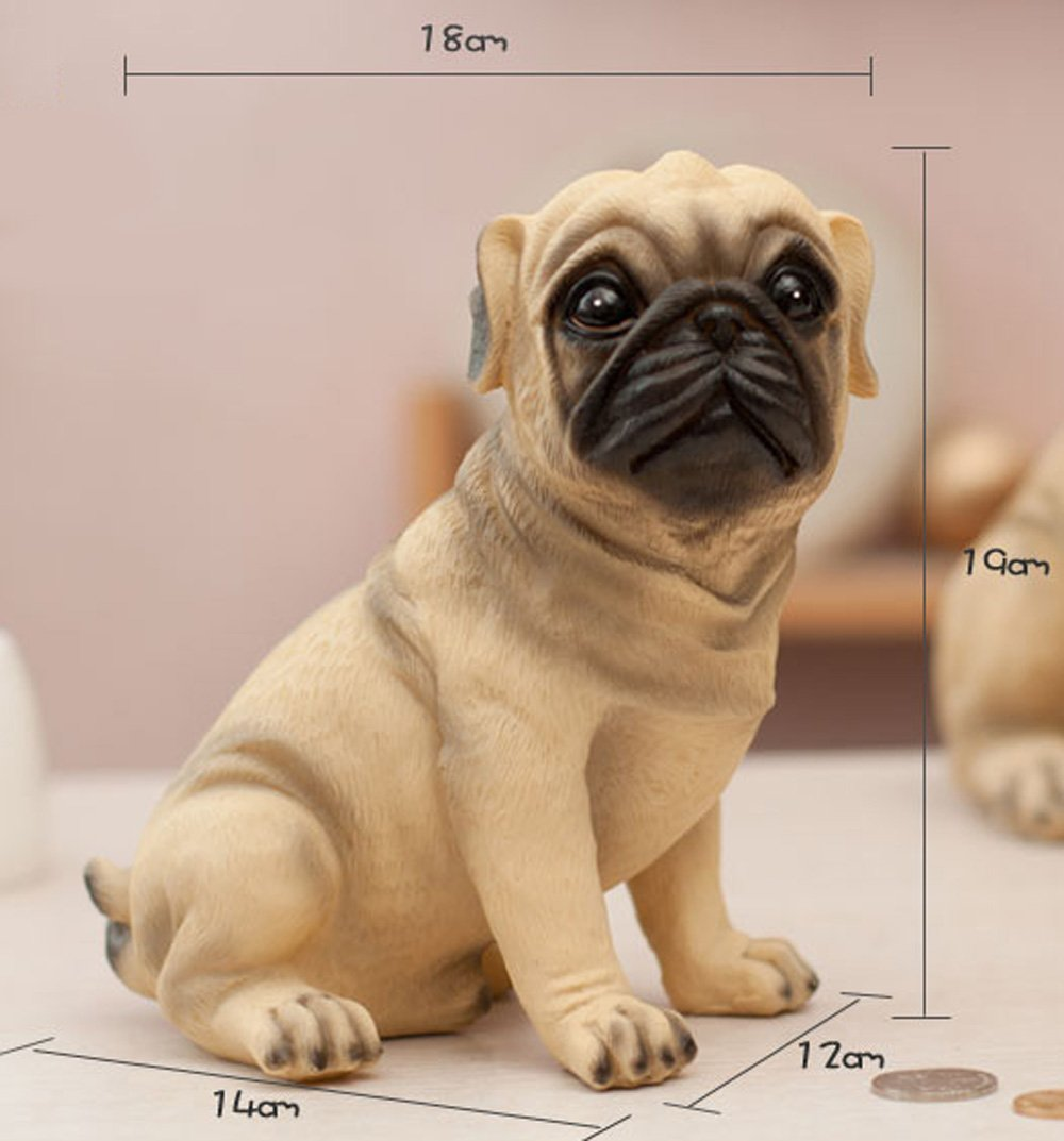 MathewArt High Emulation Resin Creative Cute Puppy Pug Dog Piggy Bank Coin Box The
