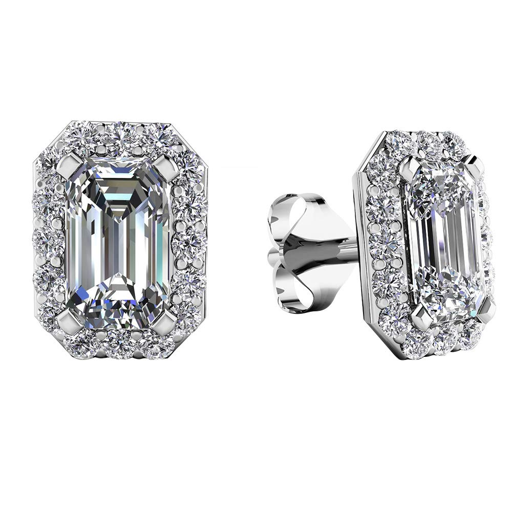 2.00 Ct Emearld /& Round Cut Simulated Diamond Halo Stud Earrings 14K White Gold Plated