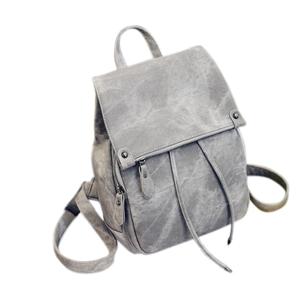Women PU Casual Daypack Solid Color Flap Bag with Drawstring Closure Backpack Shoulders Bag Schoolbag(Gray)