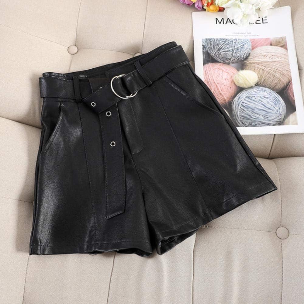 Coner Otoño e Invierno Pantalones Cortos de Cuero para Mujer Nueva versión Coreana de Cintura Alta Pierna Ancha Palabra Suelta PU Cuero Suave Longitud, Negro, L