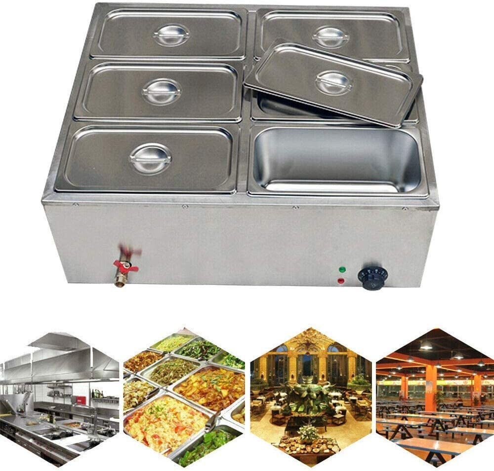 Buffet Server Food Warmer, 6 Pot Stainless Steel Electric Food Warmer Buffet Server Heater Tray Pan Bain-Marie Buffet Countertop Food Warmer Steam Table Steamer + 6Lid 850W 110V (US STOCK)