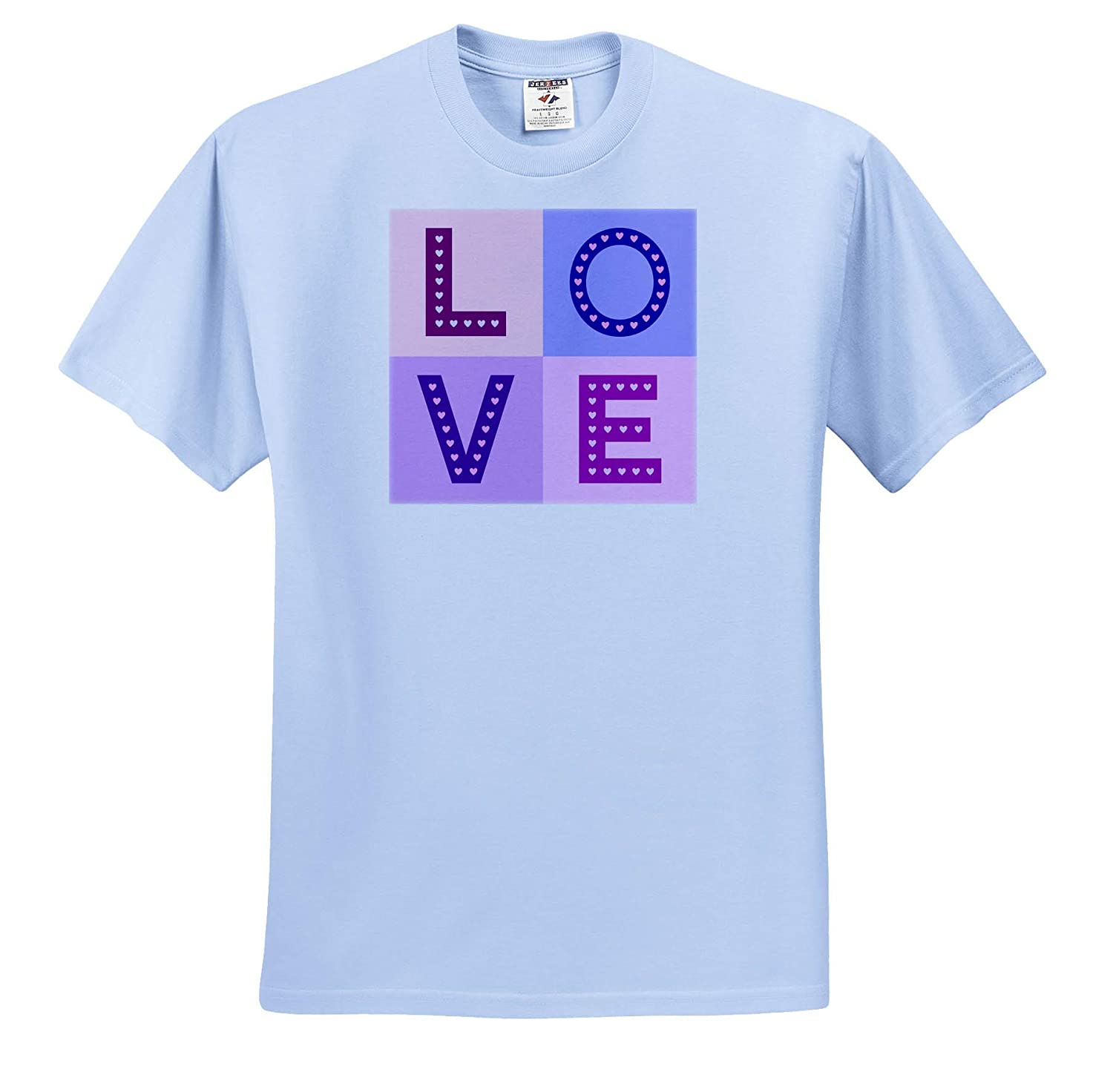 T-Shirts Typographic Designs 3dRose Natalie Paskell Love Capital Letters with Hearts Pinks and Purples