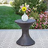 Frances Outdoor 16″ Multibrown Wicker Hourglass Side Table