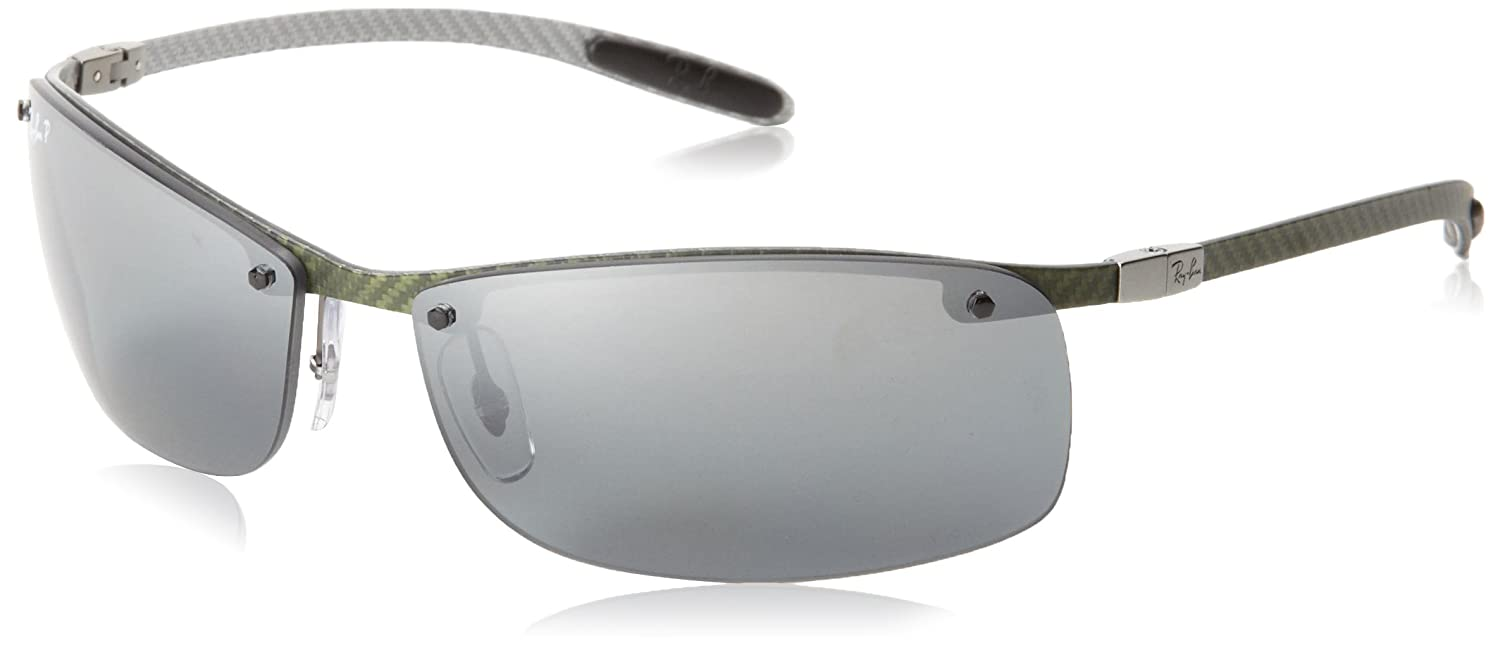 5d66d106f8 Ray-Ban 8305 Carbon Lite Light Carbon Grey Mirror Polarised Sunglasses -  size One Size  Amazon.co.uk  Clothing