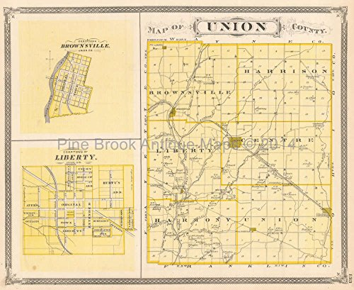Union Franklin County Indiana Antique Map Baskin 1876 Original Indiana Decor History Gift 1876 Indiana County Map